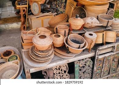 Handcraft woven rattan baskets at a local shop on Lombok Island
