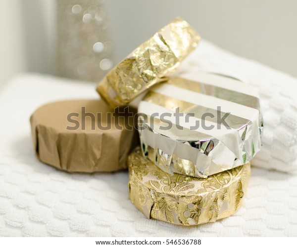 Handcrafted Natural Cold Process Shaving Soap Bars, Wrapped in Fancy Foil Paper and Displayed with Folded White Washcloth and Bath towel