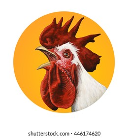 Handcrafted rooster portrait. Acrylic and watercolor illustration.