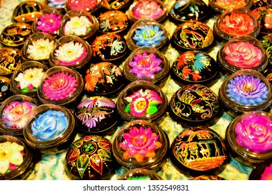 Handcrafted soap flowers at night market in Thailand