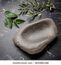 handcrafted stone bowl on marble