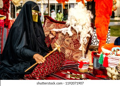 Handcrafts, women in the UAE were working in the past in spinning and weaving to produce clothes, carpets, etc. Photographed at Sheikh Zayed Heritage Festival, Abu Dhabi, UAE on 17/11/2017