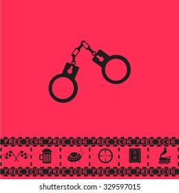 Handcuffs. Black flat illustration pictogram and bonus icon - Racing flag, Beer mug, Ufo fly, Sniper sight, Safe, Train on pink background