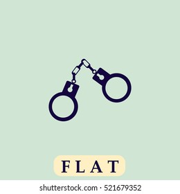 Handcuffs. Flat dark icon. Simple illustration