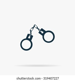 Handcuffs. Flat web icon or sign on grey background with shadow. Collection modern trend concept design style illustration symbol