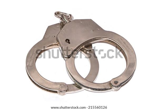 Handcuffs on white background