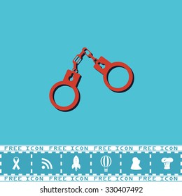 Handcuffs. Red flat symbol with dark shadow and bonus icon. Simple illustration pictogram on blue background