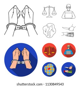 Handcuffs, scales of justice, hacker, crime scene.Crime set collection icons in outline,flat style bitmap symbol stock illustration web.