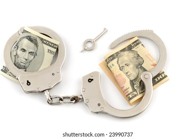 Handcuffs with US-Dollar on white background