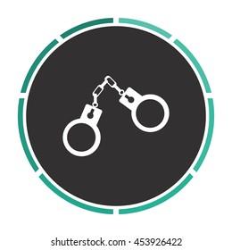 Handcuffs. White circle button on black background