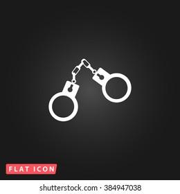 Handcuffs White flat icon on dark background. Simple illustration pictogram