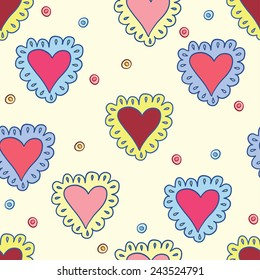 hand-drawing hearts seamless pattern abstract background on soft yellow cover for use in design for valentines day or wedding. Raster copy