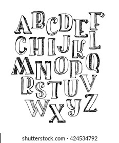 Hand-drawn ABC letters, isolated on white background. Hand drawn ink 3d font, funky and grunge alphabet, raster graphic illustration. Scratched, hatch at the shade side, using stippling and lines