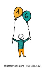 Hand-drawn boy holding two balloon where the date is 1. 6. (children's day). Black outline and retro color fill (orange, blue). Colored drawing on white background.