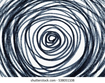 hand-drawn circles spiral pattern with abstract doodle ornament