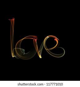 Hand-drawn colored smoke inscription Love