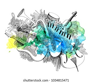 Hand-drawn doodles of musical illustration. Line art detailed, with lots of objects. Composition of musical instruments with a splash of colors.