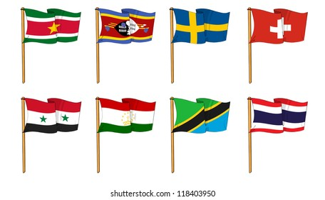 Hand-drawn Flags of the World - letter S & T