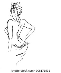 hand-drawn graphics with beautiful young   girl model for design. Fashion, style, youth,   beauty,  . Graphic, sketch drawing. Sexy woman.  groom, bride, fiancée, clothes,  dress.