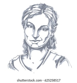Hand-drawn illustration of beautiful skeptic woman, I do not believe you. Monochrome image, expressions on face of young lady, doubter.