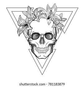 Hand-drawn illustration Skull and Lily in triangle