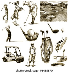 """hand-drawn images - collection - """" ON THE GOLF """" - drawing a hard-tip marker - vintage variation in brown-black"""