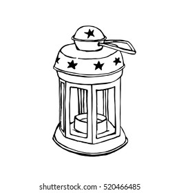 Hand-Drawn Lantern Isolated On White Background