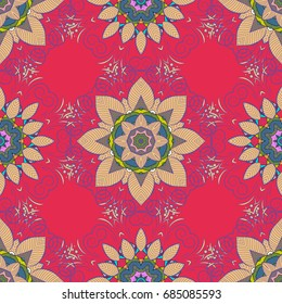 Hand-drawn mandala, colored abstract pattern on a colorful background.