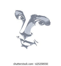 Hand-drawn monochrome portrait of delicate good-looking dreamy still woman, black and white drawing. Emotional expressions idea image, face features.