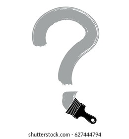 hand-drawn question mark isolated, punctuation mark created with paintbrush. Monochrome conversation symbol made with brushstrokes.