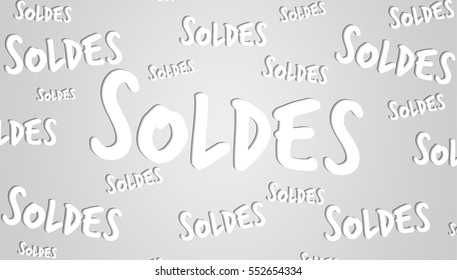 """Hand-drawn sales text on grey background (""""soldes"""" means """"sales"""" in french)"""