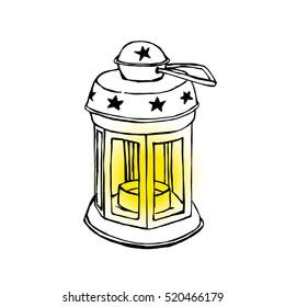 Hand-Drawn Shiny Lantern, Christmas Illustration
