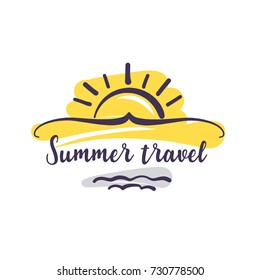 Hand-drawn sketch logo for travel agency. Abstract sunrise above sea wave isolated on white background.