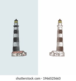 Handdrawn Vintage Lighthouse Simple Tone