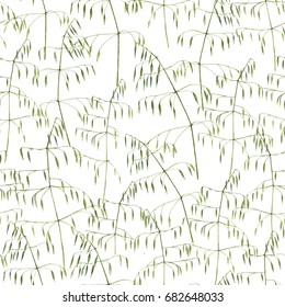 Hand-drawn watercolor botanical seamless pattern with the grass on the white background in vintage style. Natural repeated print for textile, wallpaper. Meadow plants.