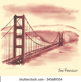Hand-drawn watercolor drawing of the American landscape and famous building. Illustration of the Golden Gates Bridge in the retro style