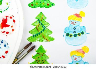 Aquarell Tannen Baum Hand Gezeichnet Und Gemalt Stock Photos