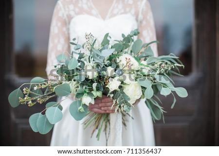 Handed Wedding Bouquet Roses Eucalyptus Greenery Stock Photo Edit