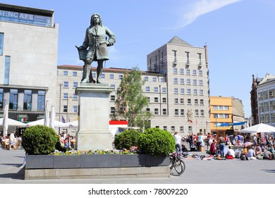 Handel Monument and Town Hall in Halle (Saale), Germany