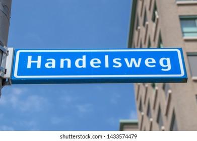 Handelsweg Street Sign At Amstelveen The Netherlands 2019