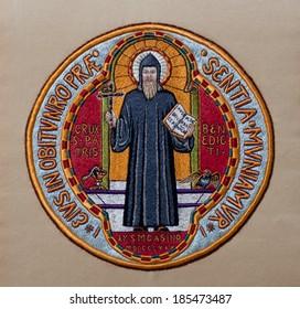 Hand-embroidered Medal of Saint Benedict, made in former Art Needlework Department of Saint Benedict's Monastery, St. Joseph, Minnesota