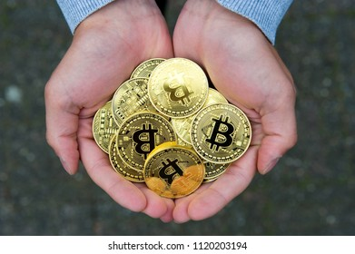 A handful of bitcoins