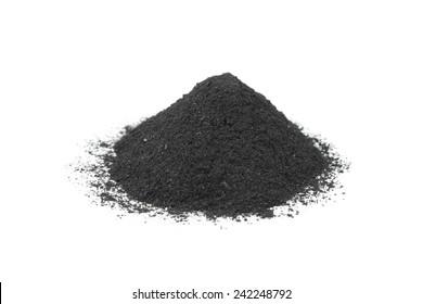 A handful of black black powder on white background