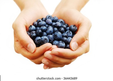 Handful of blueberries on white background