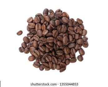 Handful of coffee beans isolated on white background
