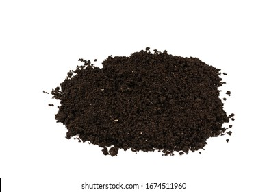 A handful of earth isolated on white background. Top view.