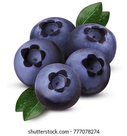 Handful of five ripe blueberry one cut in half with leaf isolated on white background. Clipping Path. Full depth of field.