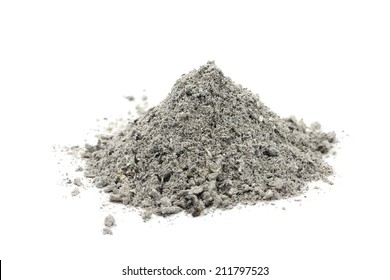 handful of gray ash on white background