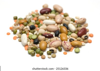 Handful of legumes, isolated