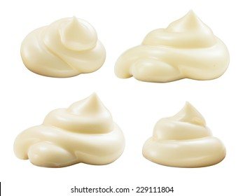 Handful of mayonnaise. Swirl on white background. Collection. Clipping path.